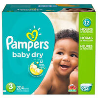 Pampers 12 Hr Baby Dry Disposable Baby Diapers 1,2,3,4,5,6 Choose Your Size