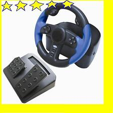 New 6 in1 Shock Vibration Steering Wheel For PS2 Xbox Gamecube PS1 PS PC-USB