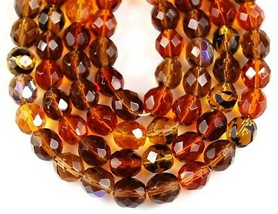 50pcs Czech Mix Topaz Fire Polished Faceted Round Loose Jewelry Glass Beads 8mm