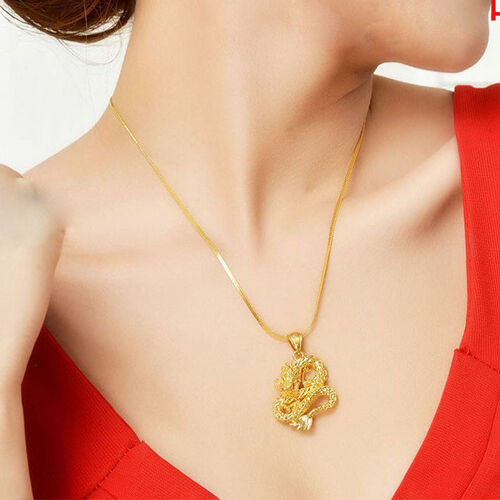 New Royal Dragon Pendant Necklace Chain Solid Women Men 24K Yellow Gold Filled