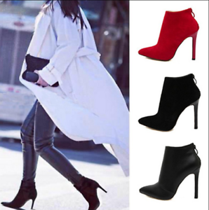 Ladies Pointed Toe Ankle Boots Sexy Back Zip Shoes Party Pumps Stilettos Heels 8