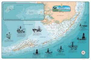 Florida Keys Lighthouse Map Nautical Chart Art Poster Print Ebay