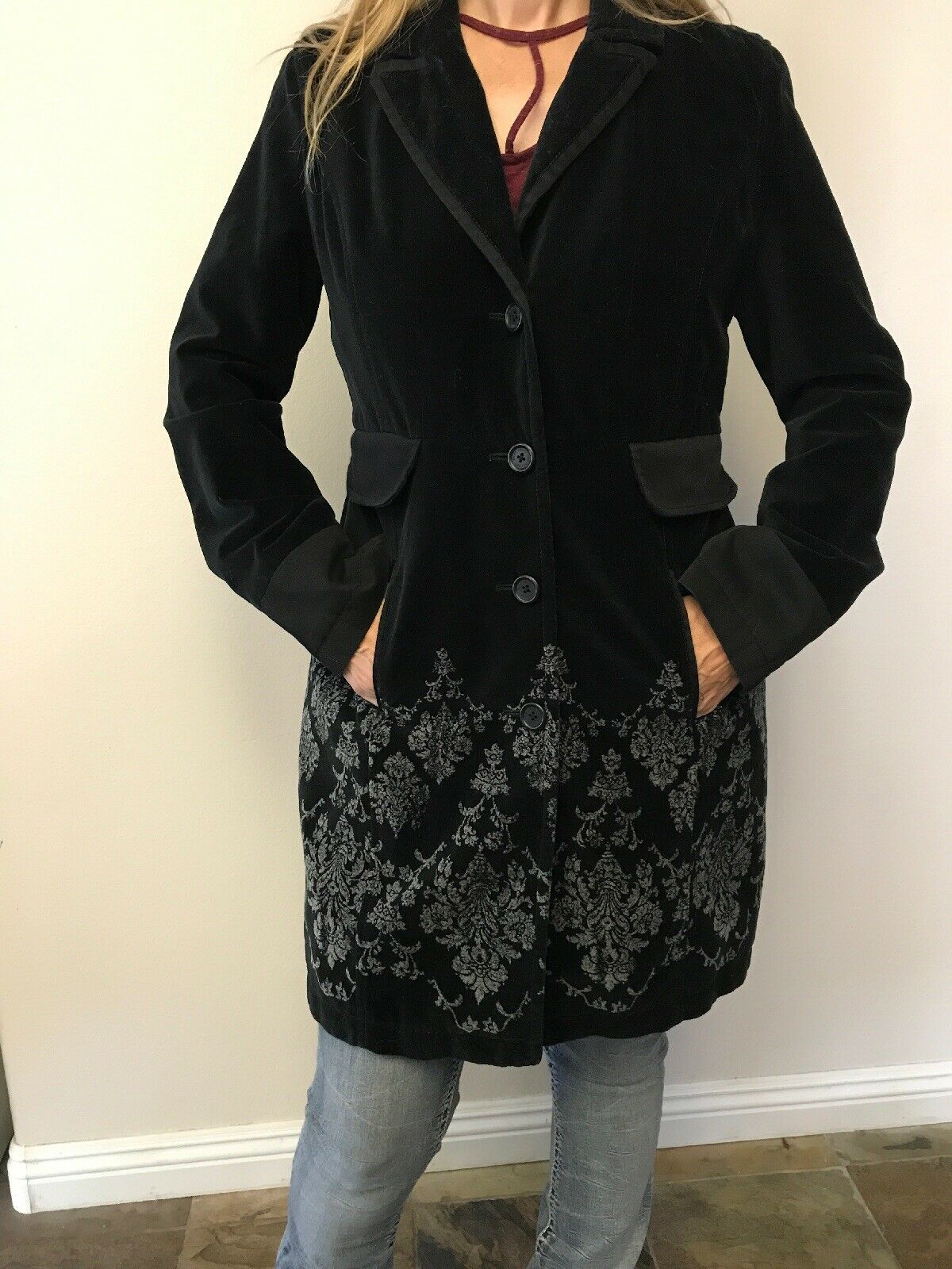 DKNY BLK VELOUR Dresscoat, M, Lined Great P O Condition