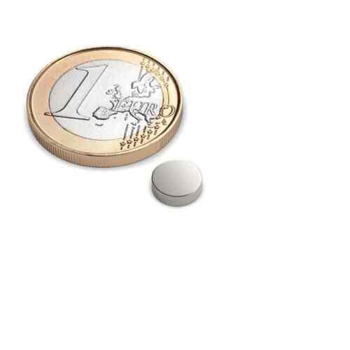 10er Set Scheibenmagnet Durchmesser 7x2 mm Neodym vernickelt Supermagnet N45