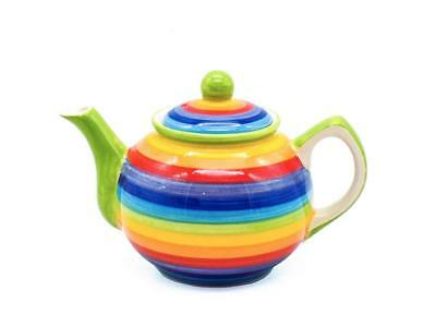 1 Litre Capacity By Shared Earth Ceramic Rainbow Striped Large Teapot 4 Cup
