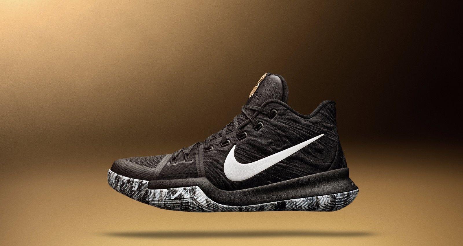 Nike Kyrie 3 BHM Black White Gold Comfortable Seasonal price cuts, discount benefits