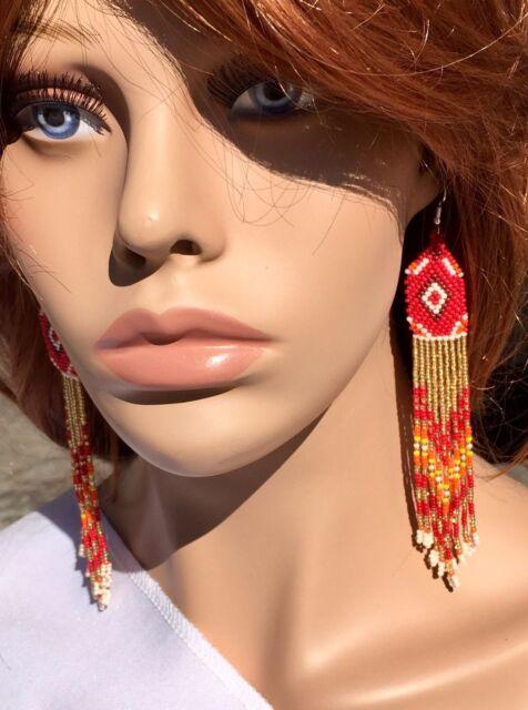 RED ORANGE GOLD GLASS SEED BEADS BEADED  LONG EARRINGS E54/30