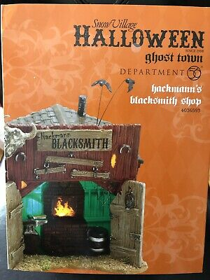 Dept 56 Halloween Village 4036593 Hackmanns Blacksmith Shop Retired
