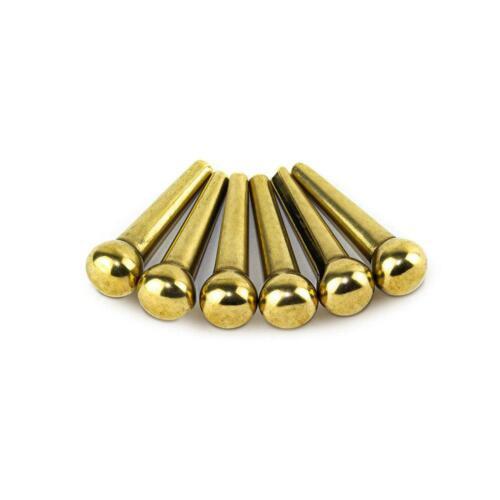 6 Pcs Solid Brass Bridge Pins for Acoustic Guitar