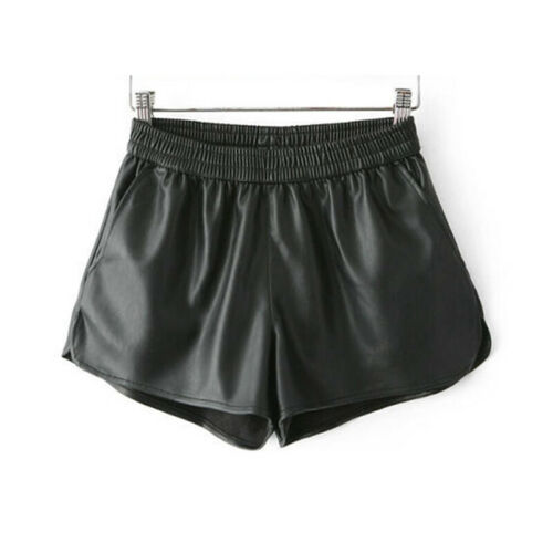 donna similpelle shorts EFFETTO BAGNATO Biker Pantaloncini Hot
