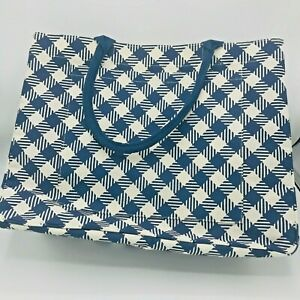 Large Mud Pie Blue White Checkered Day Tripper Tote Beach Bag Navy Carry Ebay