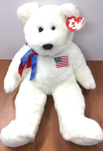 f51ea766e48 Libearty Large 20in Ty Beanie Buddy White Plush Patriotic Bear With ...