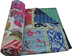 Kantha-Quilt-Indian-Vintage-Throw-Reversible-Handmade-Blanket-Bedspread-Ralli