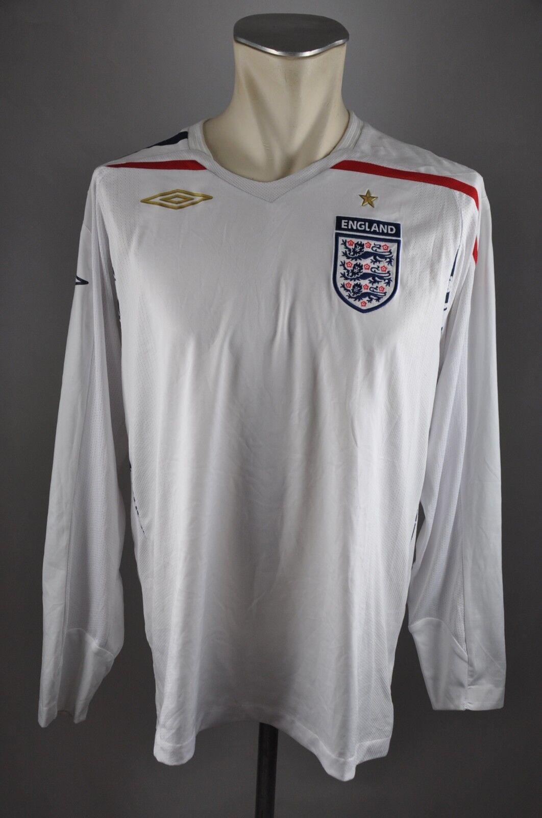 England 2008 Trikot 2008 England Gr. L Umbro Jersey LS WM Shirt Home weiß Weltmeisterschaft 747a17