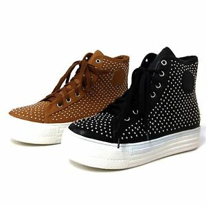Womens-Platform-Sneakers-Lace-Up-High-Top-Studded-Casual-Ankle-Boots-Shoes-Sizes