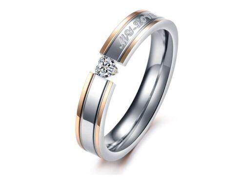 """Box couple mariage bandes Boîte Cadeau R110 /""""MON AMOUR/"""" Titane Acier promesse anneau"""