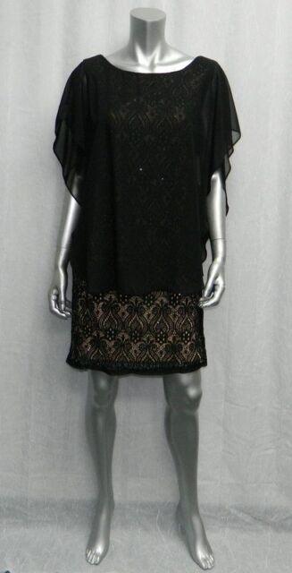 3cf817040de9 R&M RICHARDS PETITE NWT Black/Beige Lace/Sequins/Chiffon Sheath Dress sz 6P