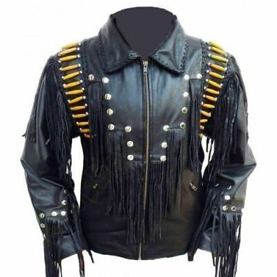 Mens Cowboy Jacket Suede Leather Western Fringes Beads American Indian 80/'s Coat