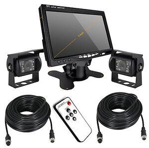 12v 24v monitor 7 2x camera de recul cmos impermeable 2x10m 4pin av cable ebay. Black Bedroom Furniture Sets. Home Design Ideas