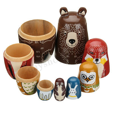 5Pcs Wooden Russian Nesting Dolls Animals Matryoshka Toy Hand Painted Types Gift
