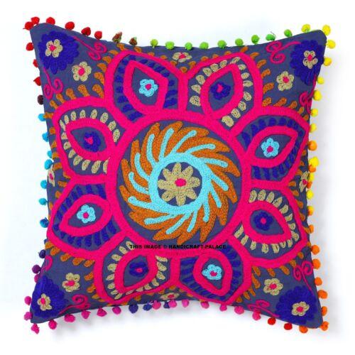 Broderie Suzani Cushion Cover Indian coton Ouzbek Taies D/'Oreiller Décoratif Maison