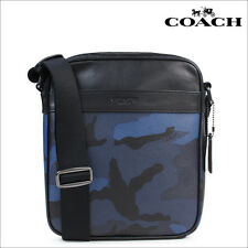NWT Coach F57564 Mens Flight Bag Crossbody Indigo Camouflage Black MSRP $295