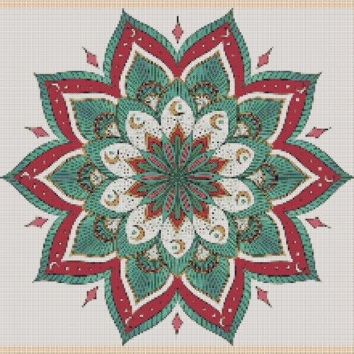Cross Stitch Colorful Mandala COMPLETE KIT #6420f