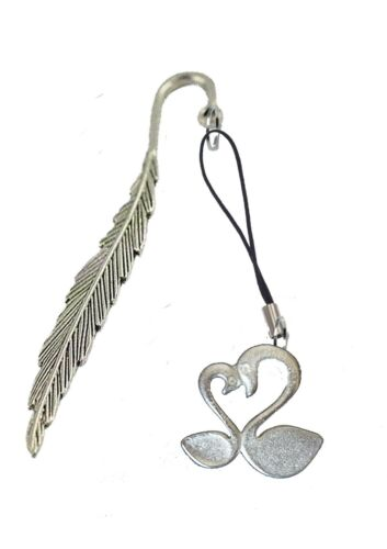 Two Loving Swans 3.8x3.6cm gt241 Fine English Pewter On A FEATHER Bookmark
