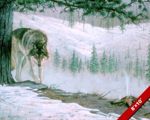 WOLF ENTERING CAMP WILD ANIMAL PAINTING WILDERNESS ART REAL CANVAS PRINT
