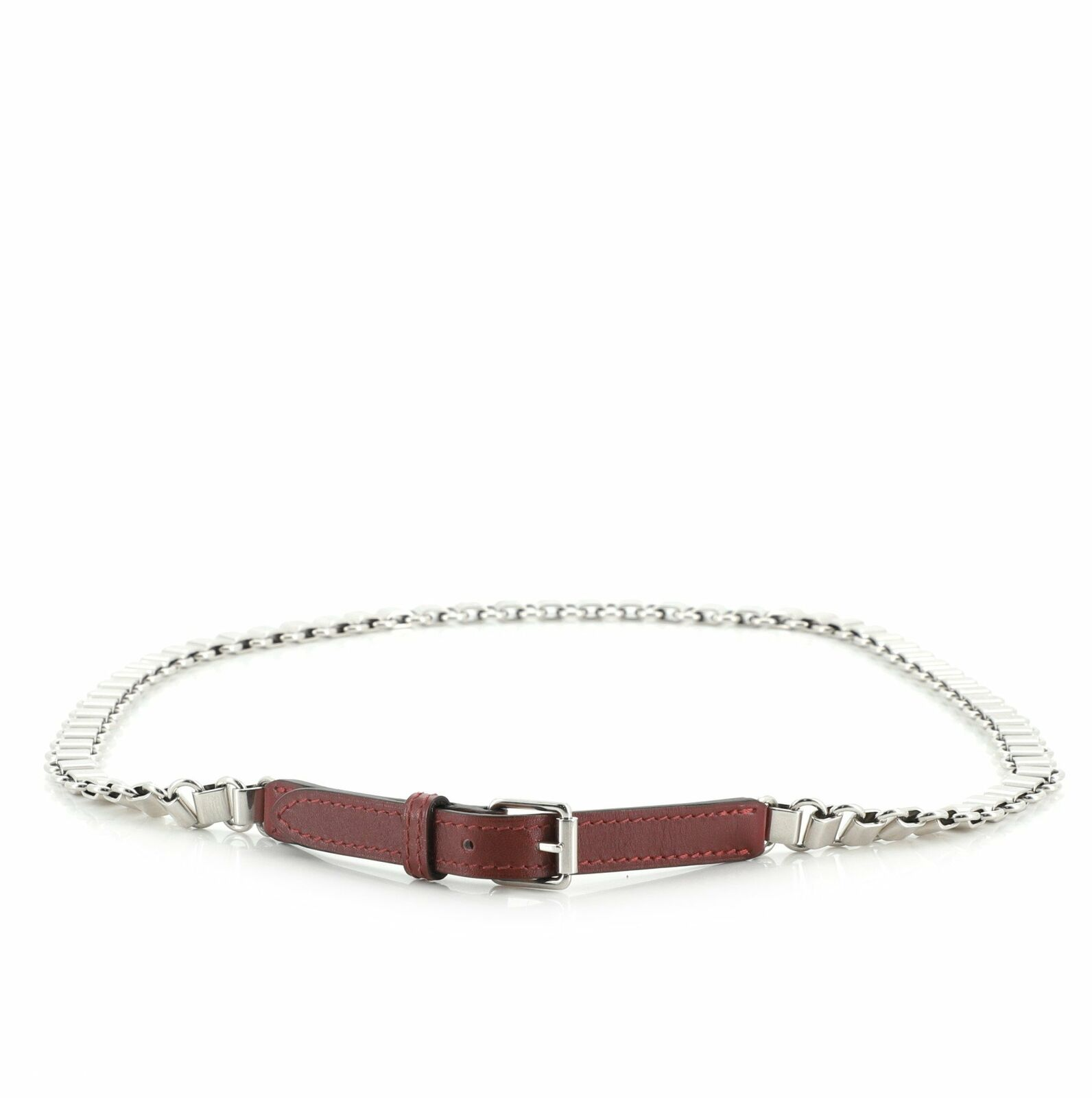 Hermes Chain Link Belt Metal with Leather 80