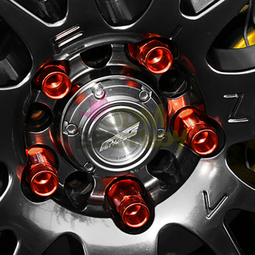 Orange 20 PCS M12X1.5mm Screw Lug Nuts Short Tuner Aluminum Wheels Rims Cap WN01