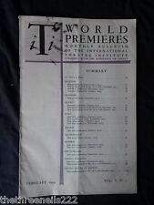 INTERNATIONAL THEATRE INSTITUTE WORLD PREMIER - FEB 1954 VOL 5 #5