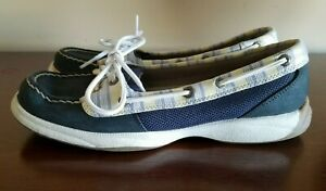 Sperry-Top-Sider-Boat-Shoes-Women-039-s-Size-7-5-Navy-Yellow-Leather-Laces