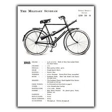 THE MILITARY SUNBEAM BICYCLE bike 1915 WW1 METAL WALL PLAQUE Sign print poster