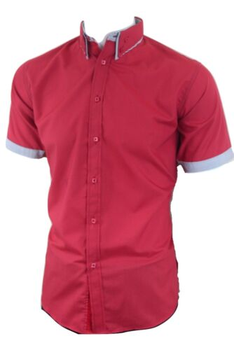 Dominic Stefano Mens Double Collar with Red Piping 207 Red *S-3XL*