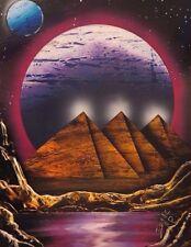 "Original Spray Paint Art - Egyptian Pyramids Landscape - Signed 14"" x 18"" New"