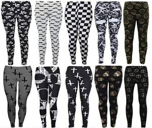 WOMENS-PLUS-SIZE-SKULL-CROSS-PEACE-SMILE-CHECK-STRETCHY-VISCOS-LEGGINGS-12-26