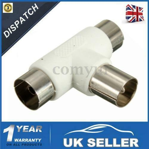 2Way TV T Splitter Aerial Coaxial Cable Male to 2x Female Connectors Adapter -UK