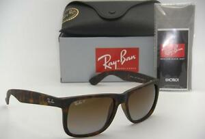 RAY-BAN JUSTIN RB 4165 865 T5 55MM RUBBER HAVANA   BROWN GRADIENT ... e740572627