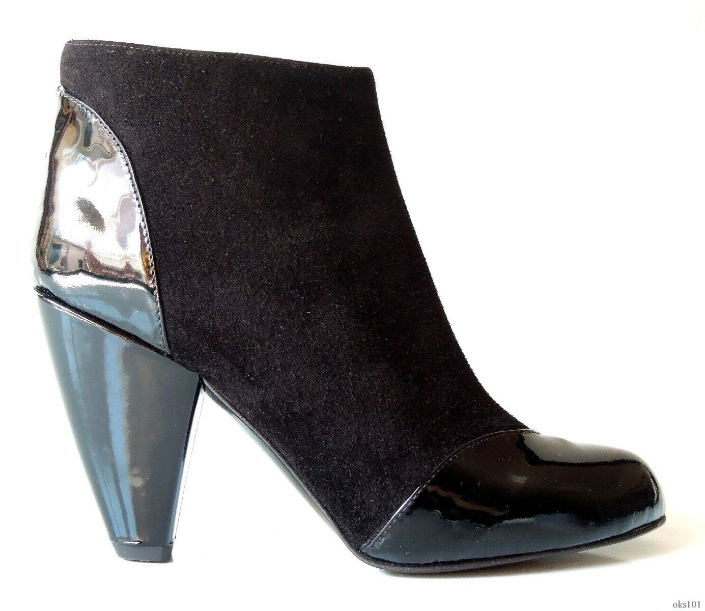 New CLAUDIA CIUTI black suede patent leather ANKLE BOOTS  - very pretty