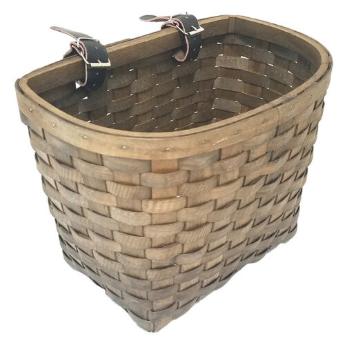 Dark Brown Sunlite Wooden Classic Woven Basket with Leather Straps