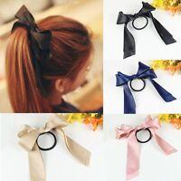 Grosgrain Ribbon Bow Hair Elastic Ponytail Hair Band Bobble Girls Ladies