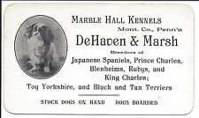Illus Business Card, Breeder of Spaniels, Yorkshire, Black & Tan Terriers, c1900