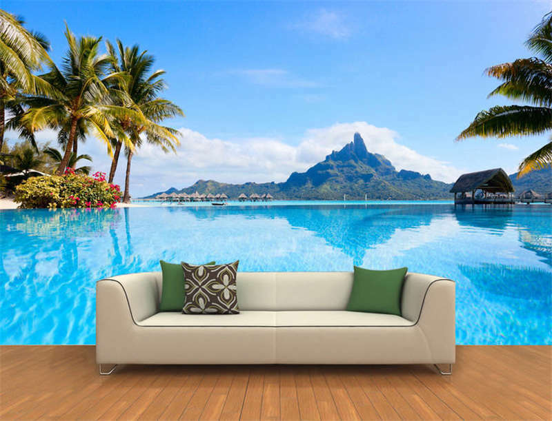 Bora Bora Island French Full Wall Mural Photo Wallpaper Printing 3D Decor Home