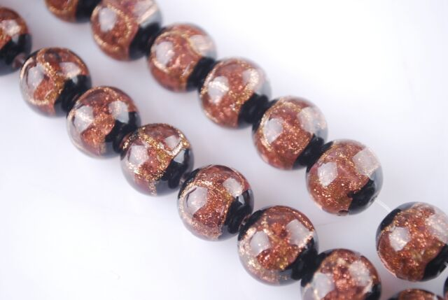 5pcs12mm Round Gold Foil Inside Lampwork Czech Glass Charms Beads Violet Reddish