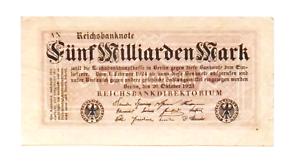 1923 Germany 5.000.000.000 5 Billion Mark Banknote