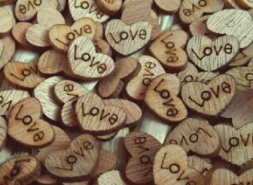 100pcs Rustic Wooden Love Heart Wedding Table Scatter Decoration