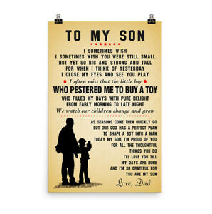 Father and Son Motivation Quotes Poster Canvas All Size To My Son Poster