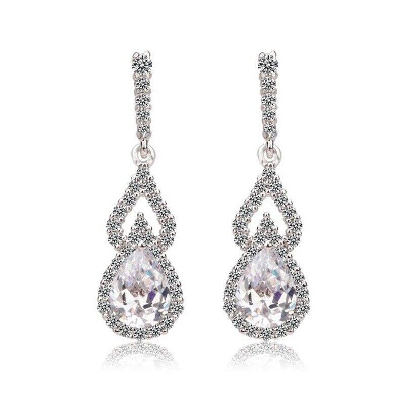 Goddess Tear Drop Earrings Bridal Jewellery CZ Cubic Zirconia - CRYSTALA