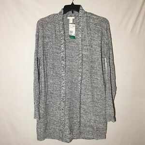 Details about H&M Open Cardigan Sweater Women Large Long Sleeve Black White